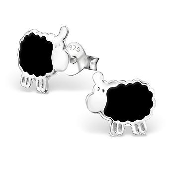 Sheep - 925 Sterling Silver + Epoxy Colour Colourful Ear Studs