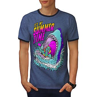 My Summer Time Fashion Men Heather Blue / NavyRinger T-shirt | Wellcoda