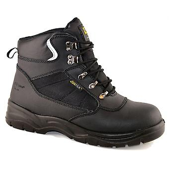 Mens Leather Safety JONTEX Waterproof Ankle Lace Up Work Boots Shoes