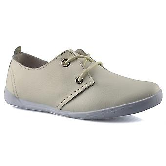 Ladies Womens New Coated Leather Lace Up Comfort Casual Flats Shoes