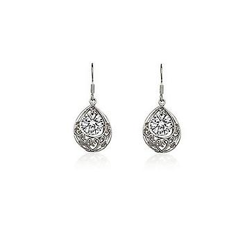 Bridal Silver White Hollow Teardrop Drop Earrings
