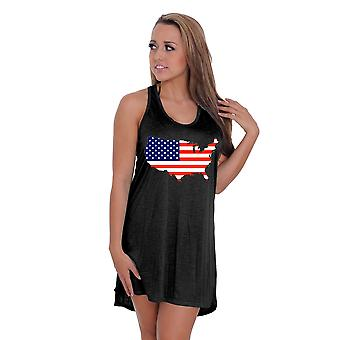 Vrouwen USA vlag trots zomer Tank jurk badmode Cover-up