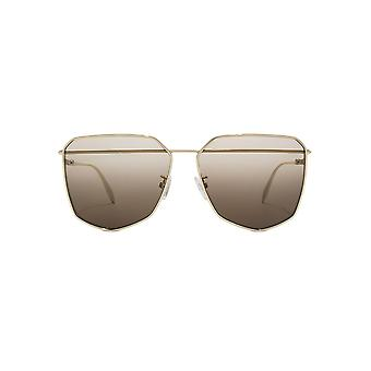 Alexander McQueen Piercing Bar Metal Square Sunglasses In Gold