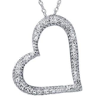 تمهيد قلب الماس شكل قلادة قلادة 10 كيلو الذهب الأبيض