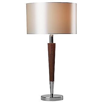 Viking Table Lamp Polished Chrome Dark Wood Cream Linen Shade VIK1333
