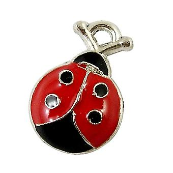Packet 10 x Red/Black Enamel & Alloy 18mm Ladybug Charm/Pendant HA08220