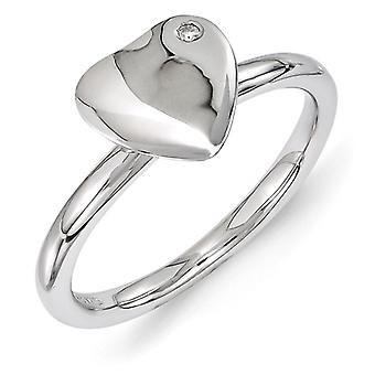 2.25mm Sterling Silver Bezel Polished Stackable Expressions Rhodium-plated Heart Diamond Ring - Ring Size: 5 to 10
