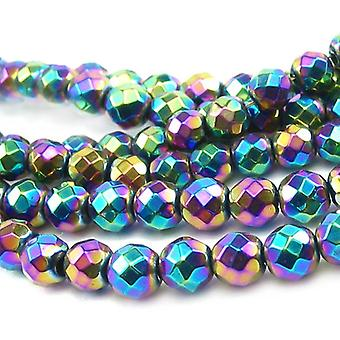 Packet 10 x Rainbow Hematite (Non Magnetic) 6mm Faceted Round Beads VP1835