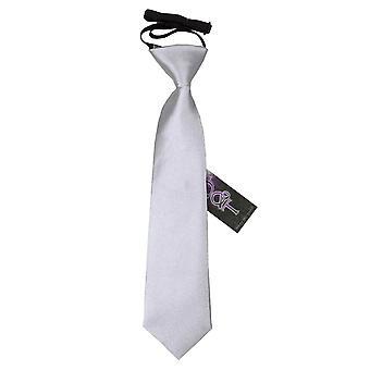 Satin Silver Plain elastisch stropdas voor jongens