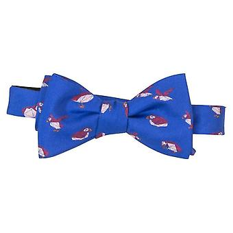 40 Colori Puffins Printed Silk Butterfly Bow Tie - Royal Blue