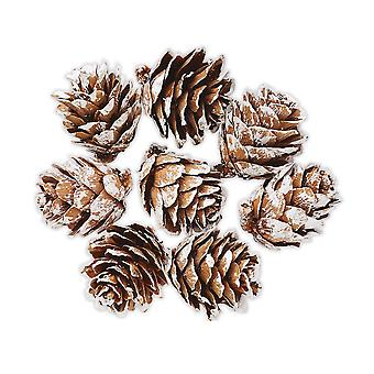 8 Small Frosted Tipped Pine Cones for Christmas Crafts