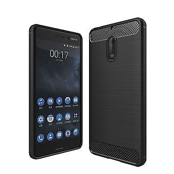 Nokia 6 TPU caso carbono fibra óptica escovado estojo preto