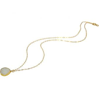 Damen - Halskette - Anhänger - 925 Sterling Silber - Vergoldet - DRUZY - Weiß - Quarz - 45 cm