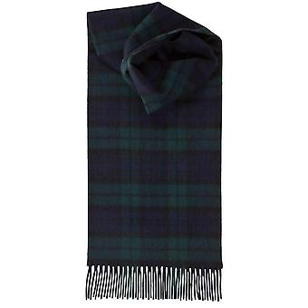 Johnstons of Elgin Black Witch Lambswool Tartan Scarf - Black/Green