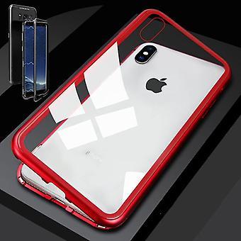 XS MAX 6,5 polegadas magnético metal / vidro para-choques caso transparente / vermelho para Apple iPhone caso capa nova