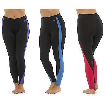 Pack of 3 Ladies Tom Franks Two Tone Sport Gym Leggings Fashion Sportswear