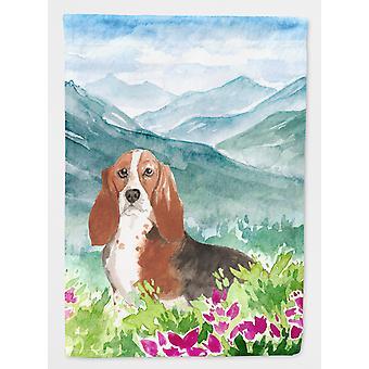 Mountain Flowers Basset Hound Flag Canvas House Size