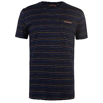 Pierre Cardin Mens Pinstripe T Shirt Crew Neck Tee Top Short Sleeve Cotton
