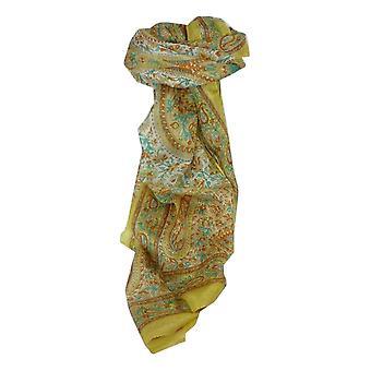 Mulberry Silk Traditional Long Scarf Kaaj Gold by Pashmina & Silk