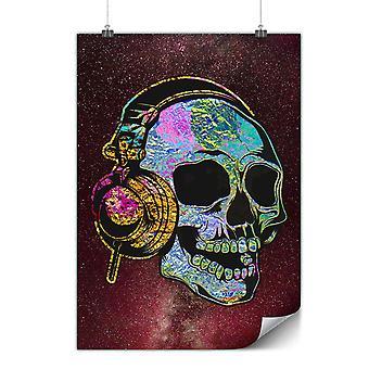 Matt oder glänzend Poster mit Schädel Kopfhörer Musik | Wellcoda | * y984