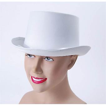 Hoge hoed. Wit, satijn Look.