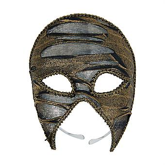 Gold/Black Ripped Look 3/4 Eye Mask