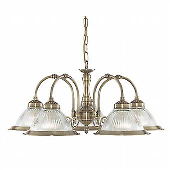 SEARCHLIGHT 5 American Diner Antique Brass 5 Light Ceiling Pendant