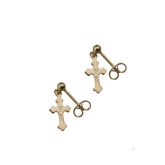 9ct Gold 11x7mm plain Cross Dropper Earrings