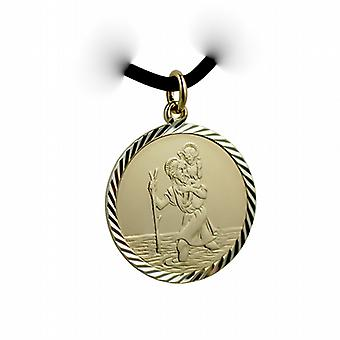 1/20th 14ct yellow gold on Silver 25mm round diamond cut edge St Christopher Pendant with a Leather Pendant Cord 18 inches