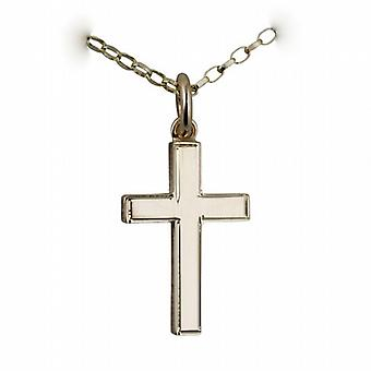 9ct Gold 20x12mm engine turned line border solid block Cross with a belcher Chain 24 inches