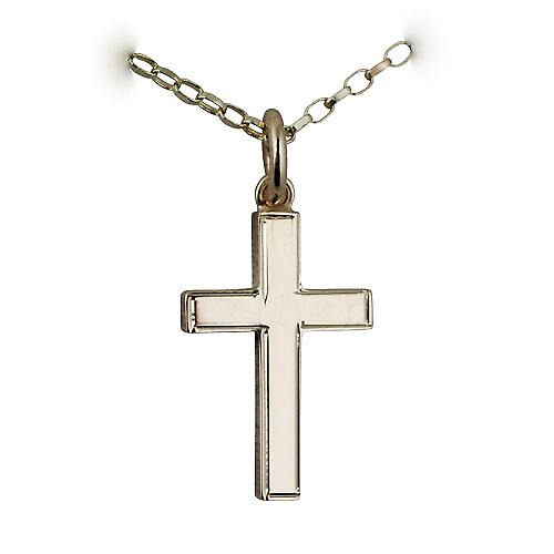 9ct Gold 20x12mm engine turned line border solid block Cross with a belcher Chain 16 inches Only Suitable for Children