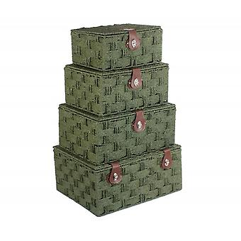 Set 4 Forest Green Woven Paper Rope Hampers