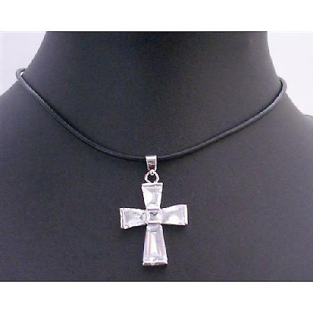Necklace Clear Crystals Cross Pendant Leather Cord Necklace Jewelry