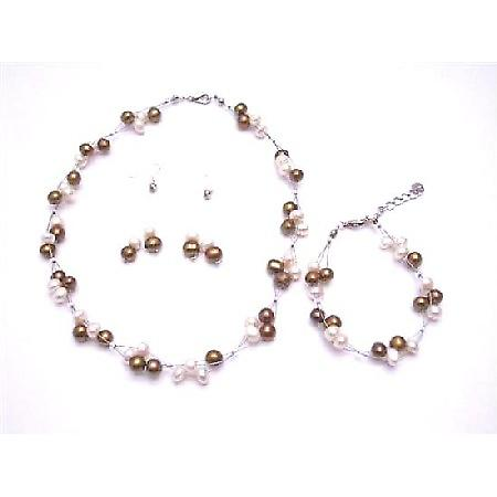 Silky Beautiful Jewelry Freshwater Pearl Bronze & Ivory Potato Shaped Handmade Wedding Jewelry