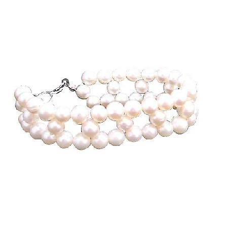Cream Freshwater Pearls Tripple Strands Bracelet Superior Quality