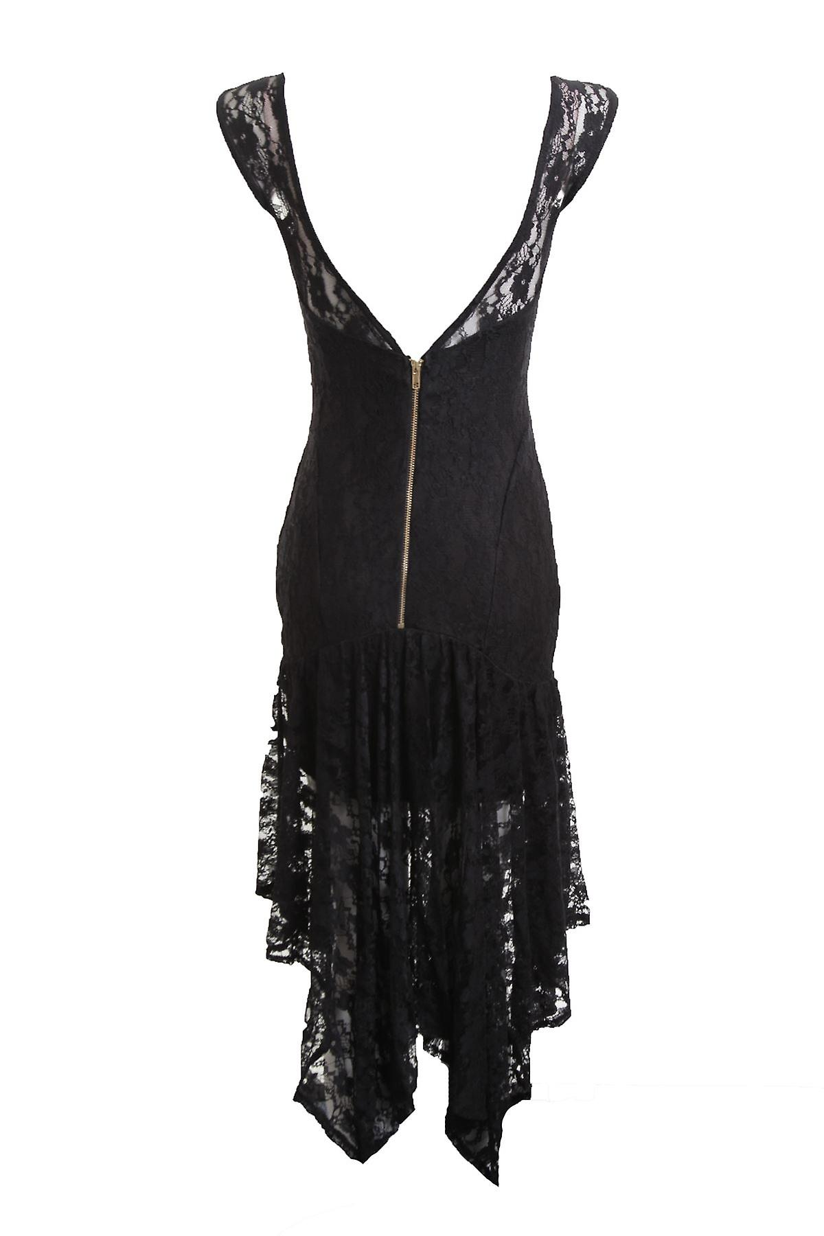 New Ladies Sleeveless V Zip Back High Low Black Lace Women's Dress