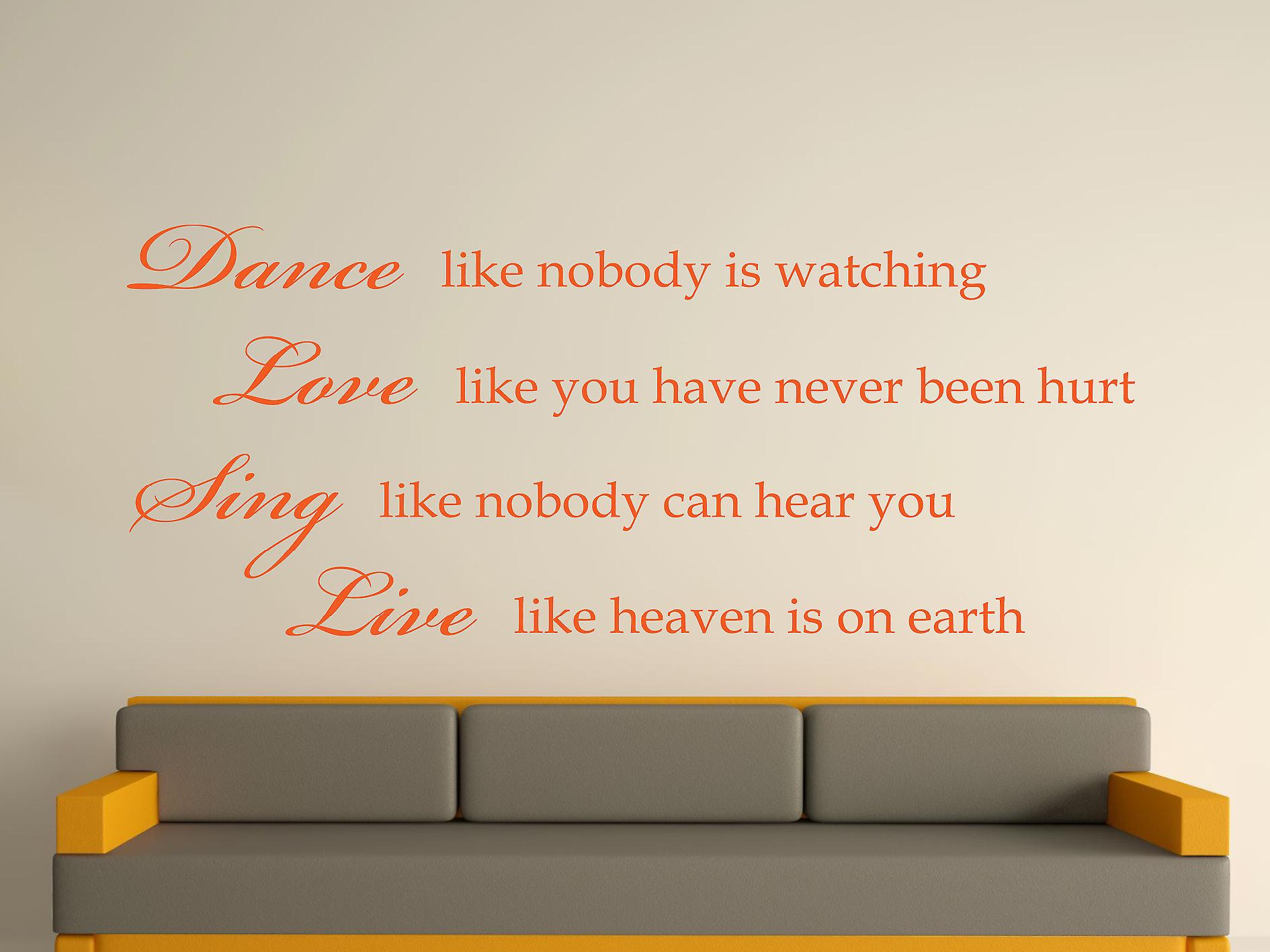 Dance Like Nobody Is Watching Wall Art Sticker - Orange