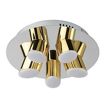 Glasberg - LED infälld ljus fem taklampa runda i krom och guld 609013505
