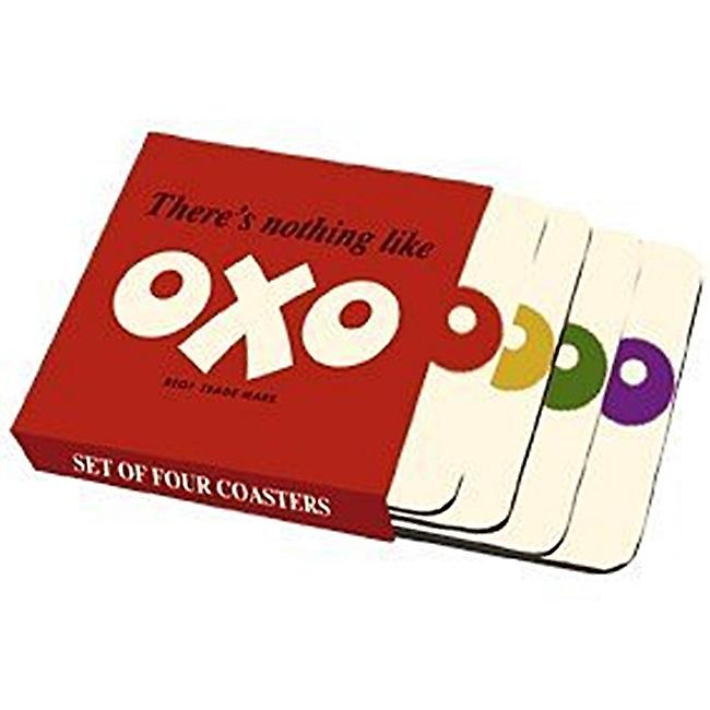 OXO set of 4 cork backed drinks coasters   (hb)