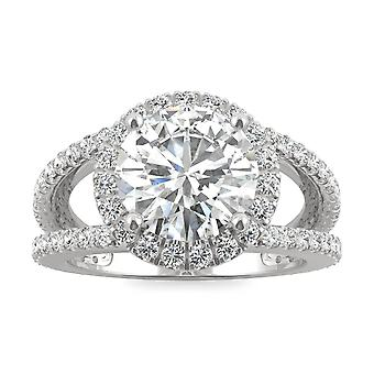 14K White Gold Moissanite by Charles & Colvard 9mm Round Engagement Ring, 3.45cttw DEW