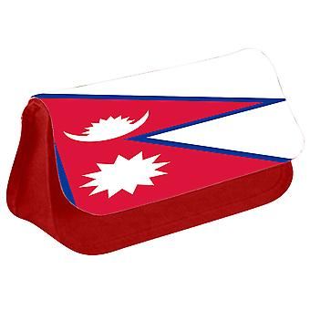 Nepal Flag Printed Design Pencil Case for Stationary/Cosmetic - 0123 (Red) by i-Tronixs