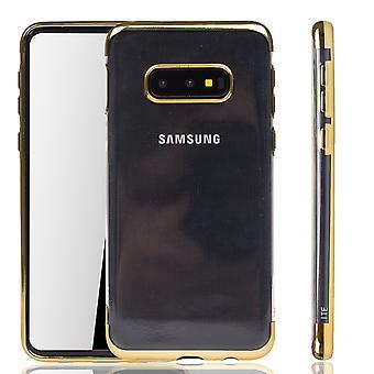 Handyhülle für Samsung Galaxy S10e Gold - Clear - TPU Silikon Case Backcover Schutzhülle in Transparent / glänzender Rand Gold