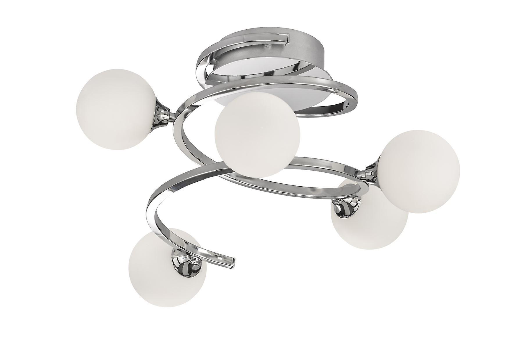 Wofi Avery - 5 Light Flush Plafond Lumière Chrome - 9188.05.01.8000