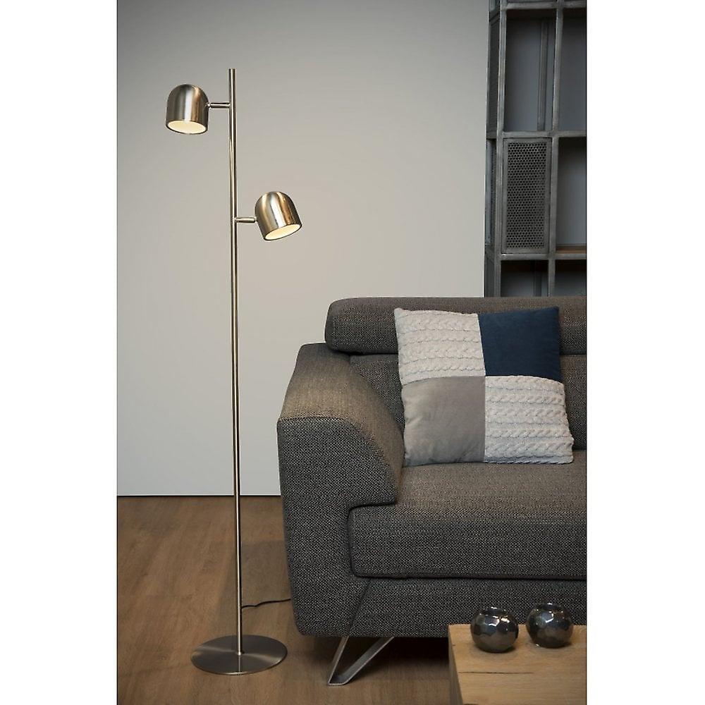 Lucide Skanska Modern Round Metal Satin Chrome Floor Lamp