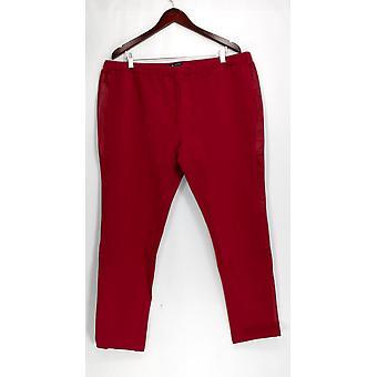 H door Halston broek elastische tailleband pull-on lederen Stripe wijn rood A262980