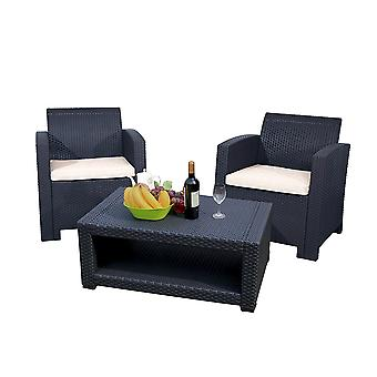 Marbella 2 Seat Rattan Armchair Outdoor Garden Set Coffee Table Graphite Cream
