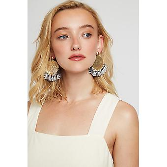 Louche Sally Large Disc And Small Tassel Earring Gold