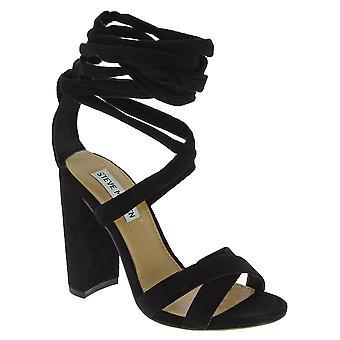 Steve Madden Women's High Block Heels Schnürsenkel Sandalen aus schwarzem Wildleder Stoff