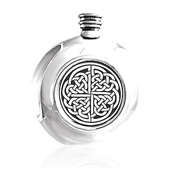 Round 6oz Hip Flask with Celtic Interlink Design and Screw Top...