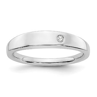 925 Sterling Silver Polished Gift Boxed Rhodium-plated White Ice .02ct. Diamond Ring - Ring Size: 6 to 8